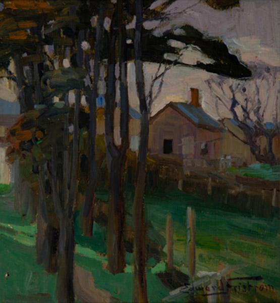 Fristrom, Edward,Pumpkin Cottage 2 c1910, oil. Sarjeant Gallery Te Whare o Rehua Whanganui