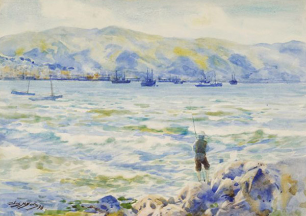 James Nairn, Wellington Harbour, watercolour.2 UHPC1-34