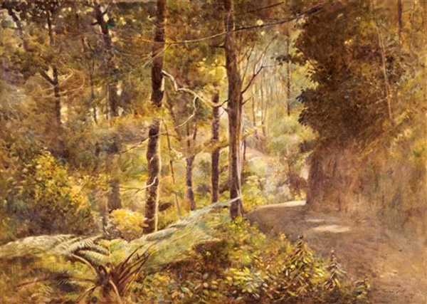 Mabel Hill, Through the forest, Akatawara, watercolour 2 UHPC1-19
