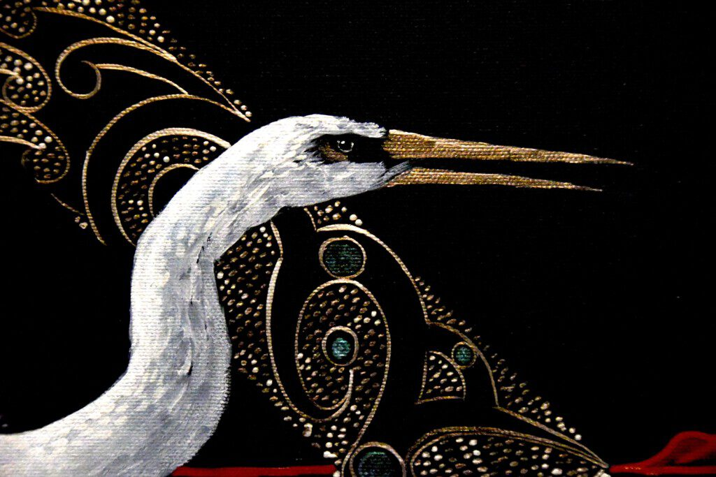 Detail fron Nga Hau e Wha. Painting on stretched canvas. Robin Slow