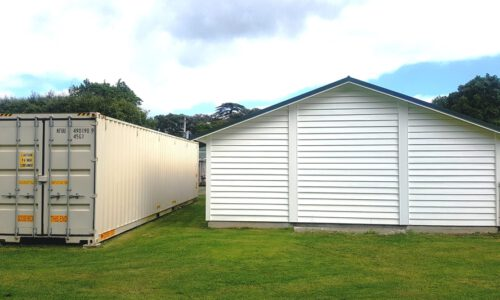 Adjacent 40ft (3m high) container for materials, supplies and equipment.